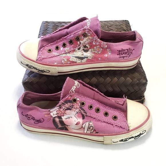 Ed Hardy Shoes - 7 Ed Hardy Geisha Skull Slip On Kicks Sneakers